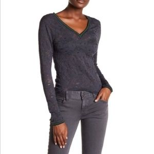 Intimately Free People Gray Lave Double V Neck Top